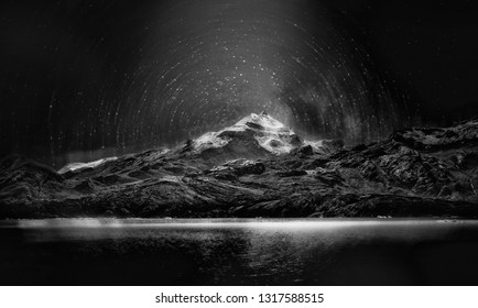 Beautiful black and white night sky landscape with starry starry sky in Patagonia, Argentina, South America. Andes Mountain night Patagonia sky with bright stars. The elements of this image furnished