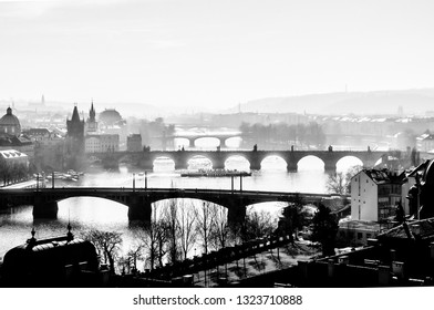 Beautiful black and white panorama view from Letna to Prague old town and bridges across the river Vltava