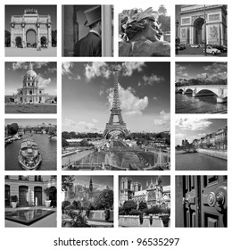 Beautiful black and white photos of the Eiffel tower in Paris and other famous places. Collage