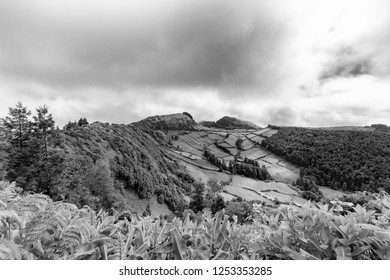 Beautiful black and white view of the edge of the Sete Cidades caldera on Sao Miguel in the Azores.