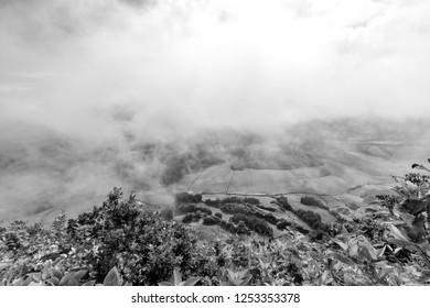 Beautiful black and white view of Pastures and clouds above Sete Cidades in Sao Miguel, Azores.
