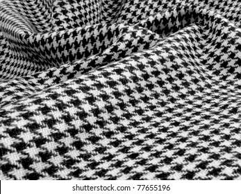 Beautiful black and white wool houndstooth swirled