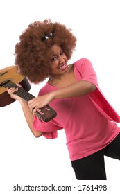 Beautiful black woman about to smash her guitar