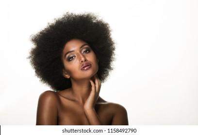 Beautiful black woman, beauty studio set