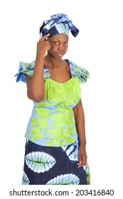 Beautiful black woman doing different expressions in different sets of clothes: you are crazy