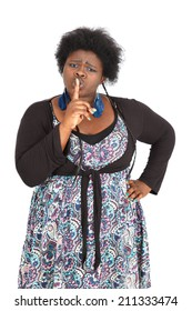 Beautiful black woman doing different expressions in different sets of clothes: be quiet