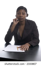 beautiful black woman executive working in office
