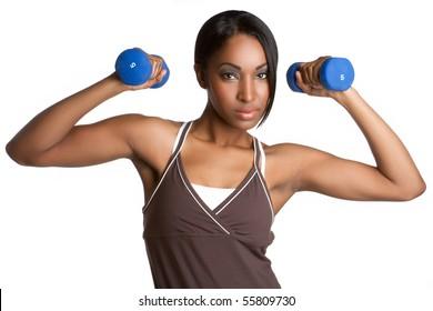Beautiful black woman exercising