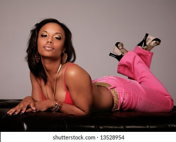 Beautiful Black Woman Laying Down