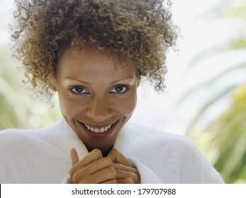 Beautiful black woman at morning in nature