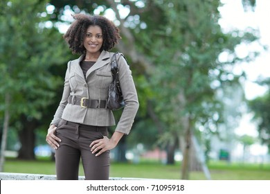 Beautiful black woman in the park