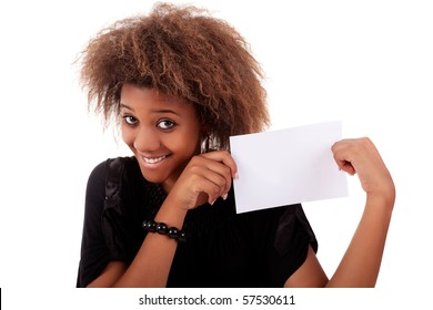 beautiful black woman person with blank business card in hand, isolated on white background. Studio shot.