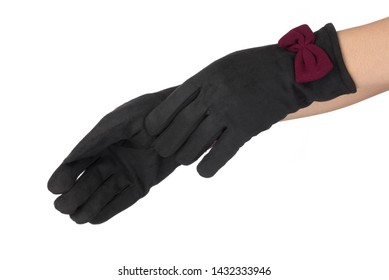 f23aaa917 Beautiful black women's gloves in hand isolated on white background