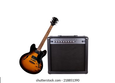 A Beautiful Black-Yellow Electric Guitar and an Amplifier Isolated on a White Background