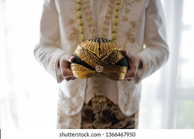 Beautiful Blangkon for The Groom. Javanese Traditional Head Wear/Hat made from Batik for Wedding Ceremony, Indonesia.