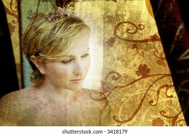 Beautiful blond bride in pink tiara looking out of window, grunge background with swirls and scrolls