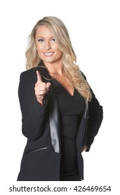 Beautiful blond business woman in dark suit, isolated on white