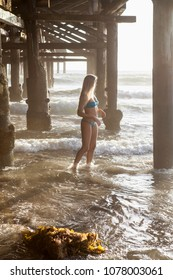 beautiful blond by a california pier