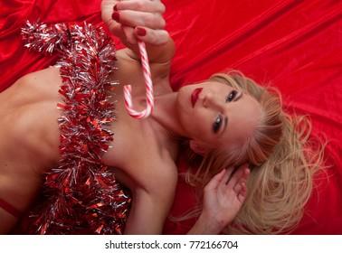 beautiful blond at christmas