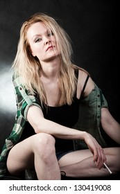 Beautiful blond danish caucasian white trash woman