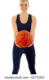 Beautiful Blond Girl with a Basketball  - Isolated over a White Background