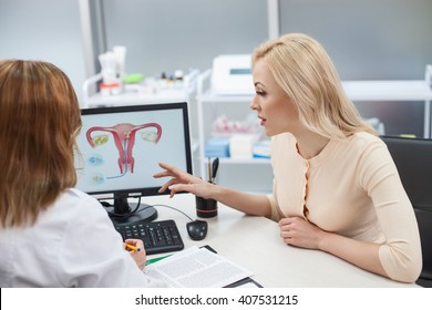 Beautiful blond girl is consulting with gynecologist