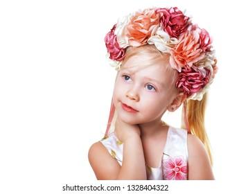 beautiful blond girl in flower crown