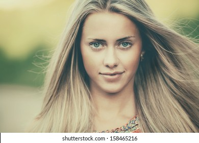 beautiful blond girl sensual portrait