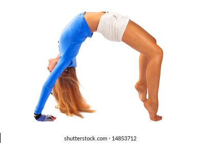 Beautiful blond girl in tension in gymnastic pose