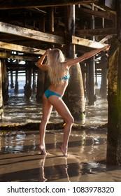 beautiful blond girl under a pier