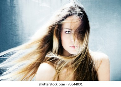 beautiful blond hair fantasy woman portrait