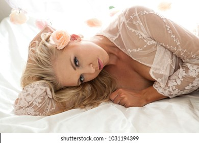 beautiful blond in her boudoir