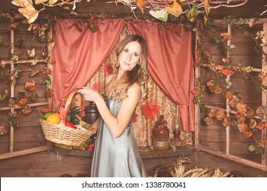 Beautiful blond on autumn background
