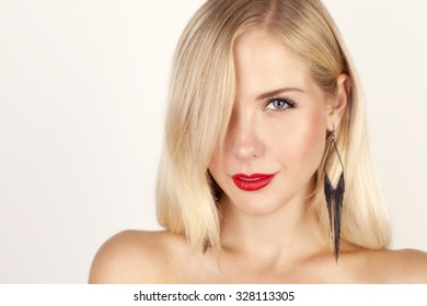 beautiful blond with red lips