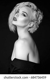 beautiful blond sexy woman fashion black and white portrait