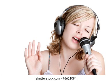 Beautiful blond singing music girl