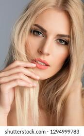 Beautiful blond woman beauty portrait