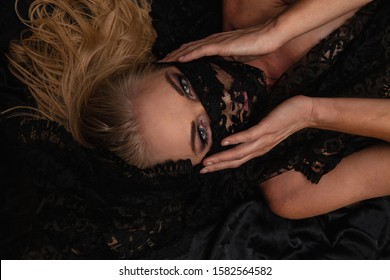 beautiful blond woman with black lace