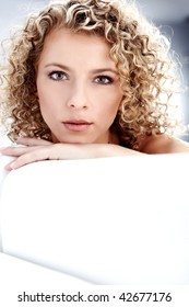 Beautiful blond woman, Curly hair