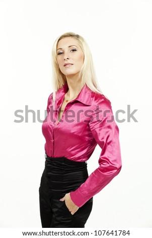70bef2e8c4a1c Beautiful Blond Woman Pink Blouse Studio Stock Photo (Edit Now ...