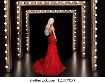 Beautiful blond woman in red dress posing on Stage Podium Scene with lighting bulbs. Elegant lady in long luxurious gown posing at camera.