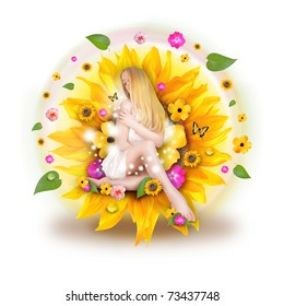 A beautiful blond woman is sitting in a sunflower with an abstract assortment of flowers and leaves behind her on a white background.