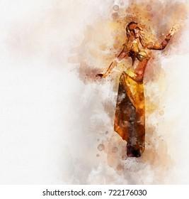 Beautiful blonde belly dancer woman. Digital watercolor painting. Digital art.