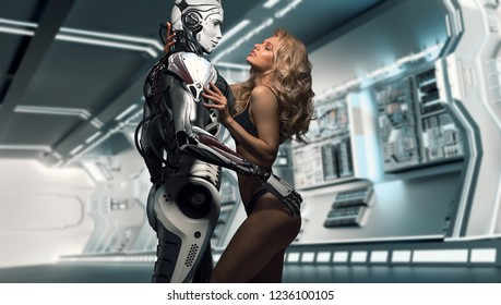 A beautiful blonde in black underwear standing with a male robot in futuristic space ship interrior, virtual relationship with human and robots