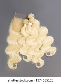 Beautiful blonde body wave bundle hair with closure