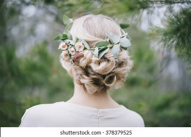 Beautiful blonde bride's hairstyle,back view