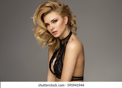 Beautiful blonde female model
