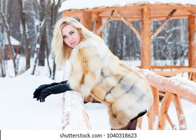 Beautiful blonde in fur coat, leather gloves poses outdoor at winter day in park with arbor