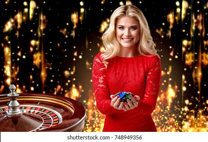 beautiful blonde girl with chips stands on the background of a royal roulette. collage with a gambler, roulette and chips
