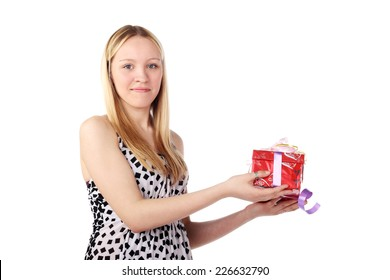 beautiful blonde girl with a gift in her hands